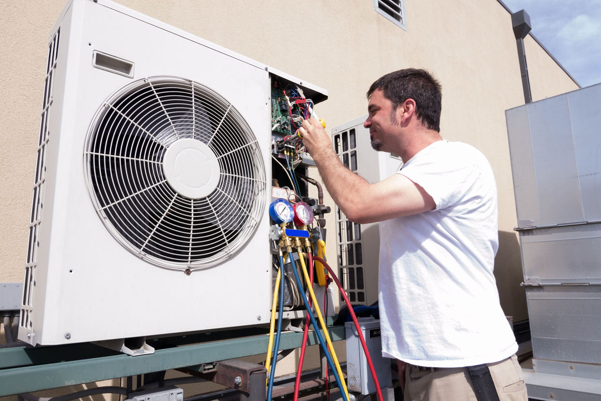 Maintenance work on air conditioners